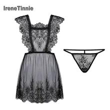 Irene Tinnie Sexy Pyjama Vrouwen 2 Stuk Sets Transparant Licht Dunne Verleiding Kanten Ondergoed Elegante En Romantische Nachthemd