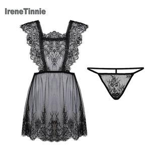 Image 1 - 아이린 TINNIE 섹시한 잠옷 여성 2 조각 세트 투명 빛 얇은 유혹 레이스 속옷 우아하고 낭만적 인 Nightdress