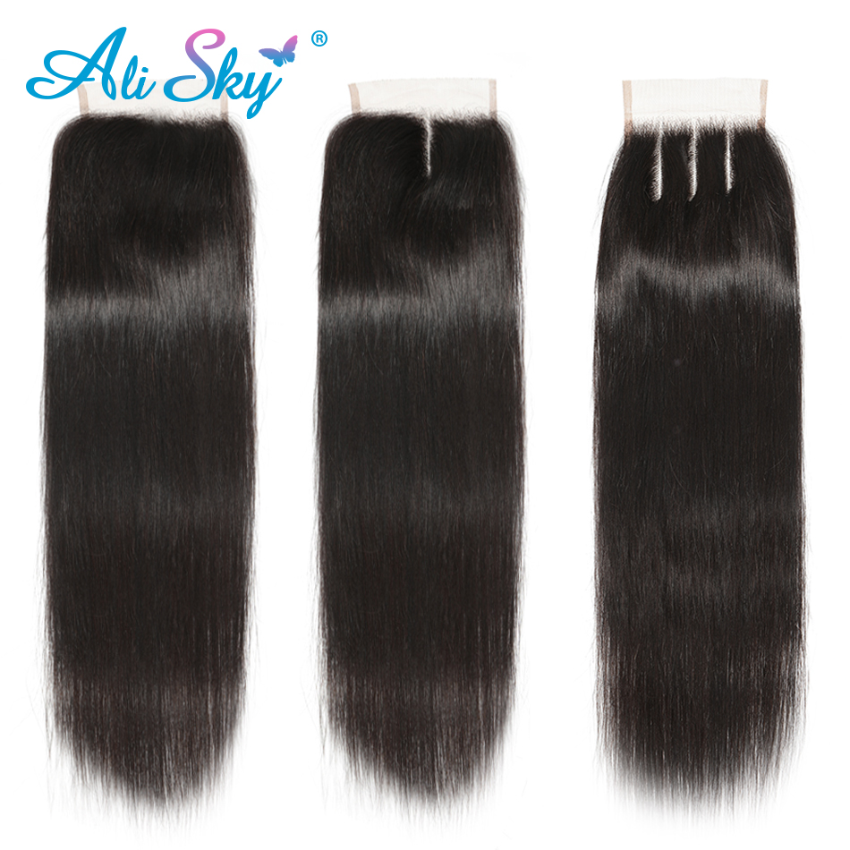 Alisky Brazilian Hair Straight 3 Bundles With Closure Human Hair Bundles With Closure Lace Closure Remy Human Hair Extension