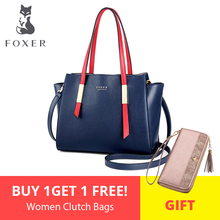 FOXER Brand New Design Female Occident Style Tote Women High Quality Shoulder Bags Lady Fashion Trapeze Handbags & Crossbody Bag new 2017 brand design women panelled trapeze bag wings tote split leather handbags for female lady messenger bags an324