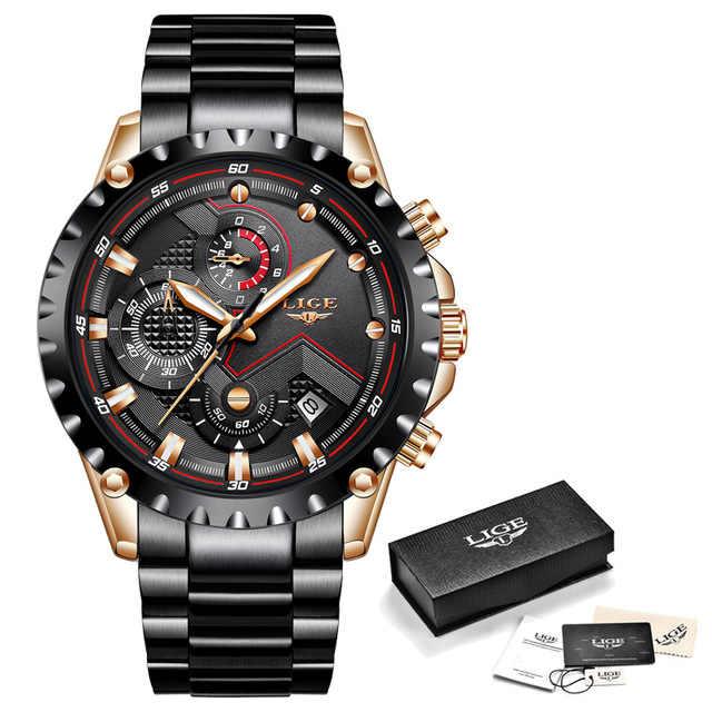 LIGE hommes montres haut marque de luxe de mode affaires montre à Quartz hommes Sport plein acier étanche or horloge Relogio Masculino