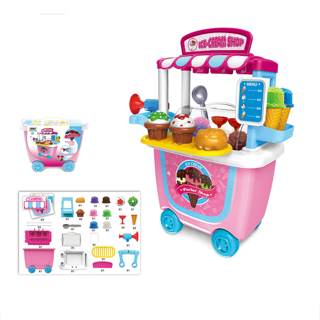 Children Christmas Birthday Gift 31Pcs/set Kids Pretend Role Play Ice Cream Toy Food Truck Groceries Toy Playset Ice Cream Cart