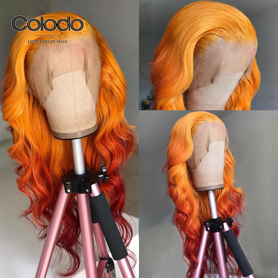 COLODO 13x4 Lace Front Wig Brazilian Ombre Lace Front Wig With Babyhair Remy Hair Orange Colored Human Hair Wigs For Black Women