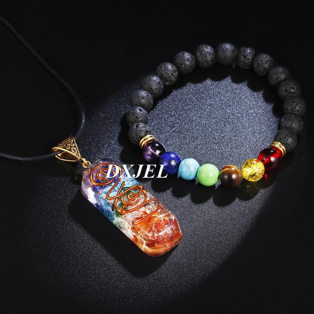 DXJEL 7 Chakra Orgone Energy Healing Pendant with Bracelet Rainbow Crystal Meditation Necklace Resin Jewelry For Women Men Gifts