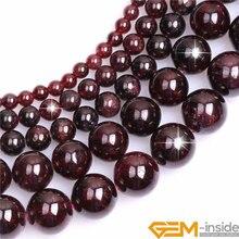 Натуральные драгоценные камни, темно-красный гранат, круглые бусины для изготовления ювелирных изделий, нить 15 дюймов, сделай сам, браслет, ожерелье, ювелирная бусина, 6 мм, 8 мм, 10 мм