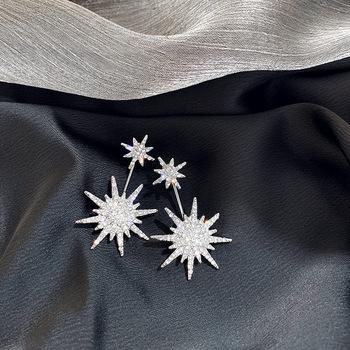 Modne geometryczne z kryształkami kobiety Dangle kolczyki Solar Moon kryształowe kolczyki dla kobiet kolczyki wiszące czeskie kolczyki tanie i dobre opinie DINGABIYU Aluminium Spadek kolczyki TRENDY Moda