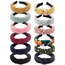 Hair Accessories 12 Pieces Wide Knot Headbands for Women, Elastic Girls Headbands Hair Band  6 Plain Colors+6 Printed Pattern