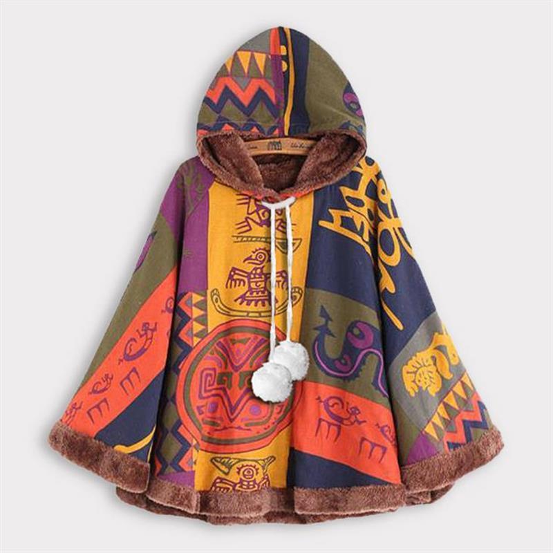 RAISEVERN 2020 Winter Coat Women Warm Vintage Print Ethnic Jacket Femmes Hooded Outerwear Drawstring Pom Poncho Coat