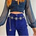 Пояс Hirigin в стиле Харадзюку, модный металлический пояс в стиле панк, с подвеской в виде Луны, солнца, винтажный пояс с завышенной талией, готи...
