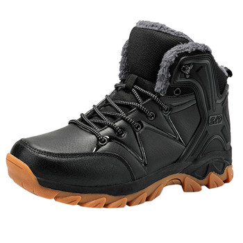 Leather Men Winter Plus Velvet Booties Warm Waterproof Cotton Thick Bottom Non-slip Climbing Hiking Snow Shoes Zapatillas Hombre