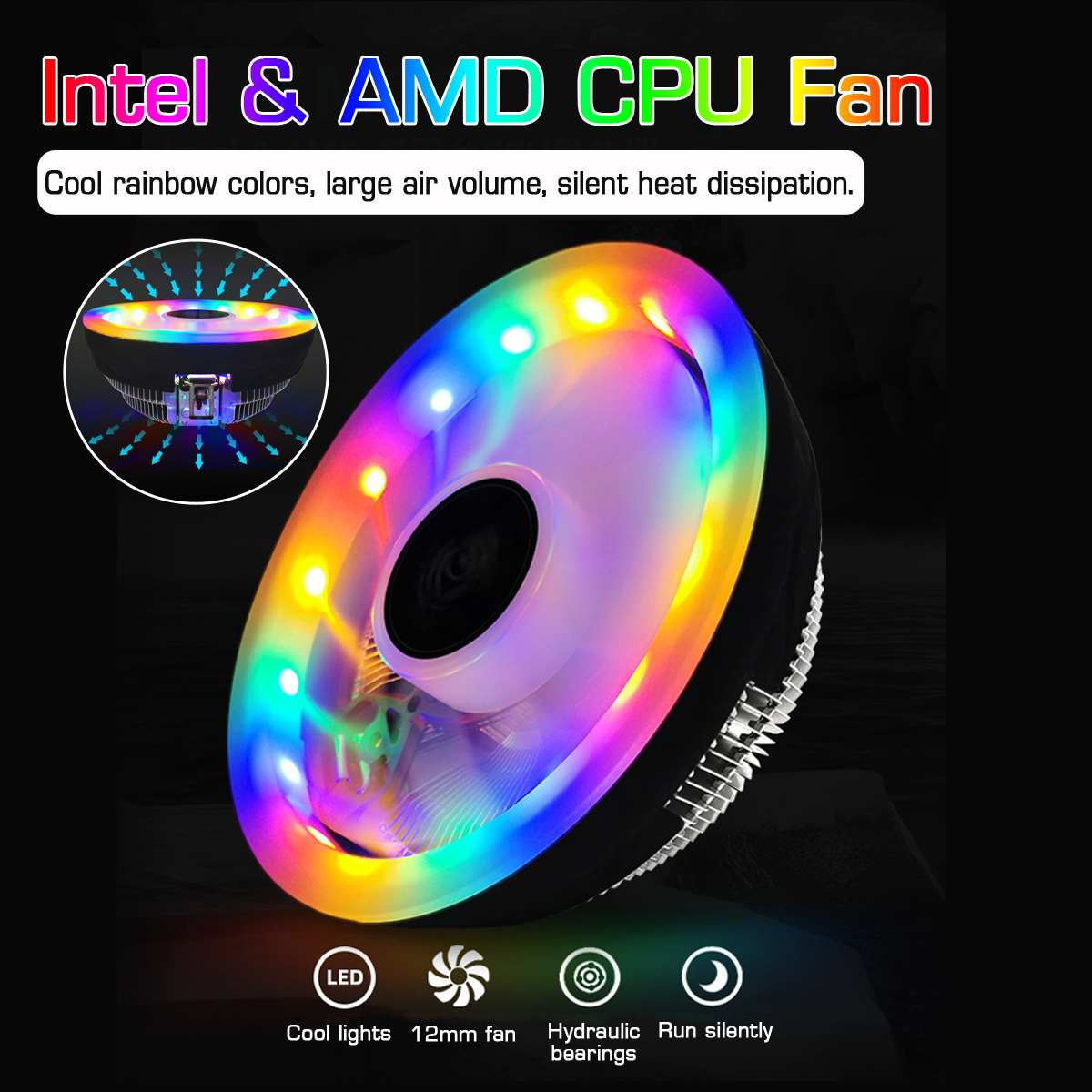 NEW Durable Heatsink CPU Cooler Cooling Radiator Fan 3 Pin RGB CPU Cooler for CPUs with Power Less than 80W image