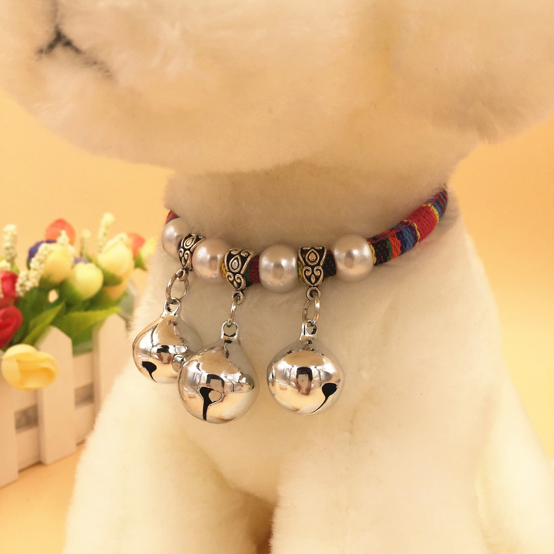 Dog Neck Ring Bell Pet Bell Neck Ring Silver Bells Neck Ring Teddy Bichon Neck Ring Bell Necklace Small And Medium-sized Dogs