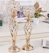 Wholesale gold/silver new iron crystal candle holder for wedding home candlestick