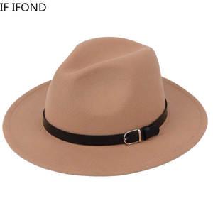 Jazz Hat Fedora-Hat Chapeau Imitation-Woolen Classic Winter Fashion Women British