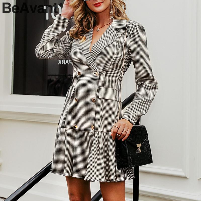BeAvant Vintage Plaid Women Office Dress Double Breasted Pleated Blazer Dress Long Sleeve Female Party Dresses Autumn Outerwear