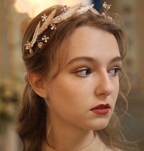 Image 5 - ヴィンテージ淡水真珠金箔オパールウェディングヘアバンドヘッドバンドティアラブライダルヘッドピースヘアアクセサリー女性ジュエリー