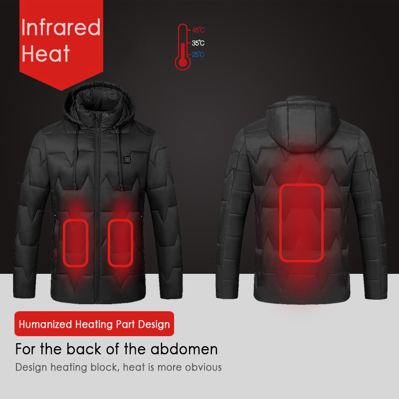 Winter  Heated Jackets Vest Down Cotton Mens Women Outdoor Coat USB Electric Heating Hooded Jackets Warm Thermal Coat