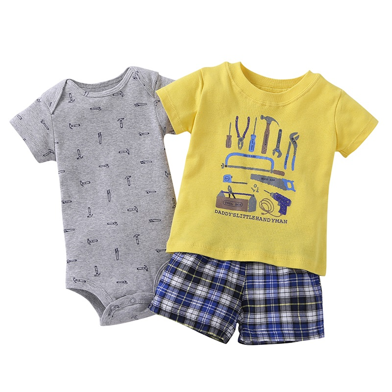 3 pcs suit Newborn Baby Romper Summer Set 16
