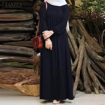 ZANZEA Women Vintage Dubai Abaya Turkey Hijab Dress Autumn Sundress Solid Muslim Islamic Clothing Long