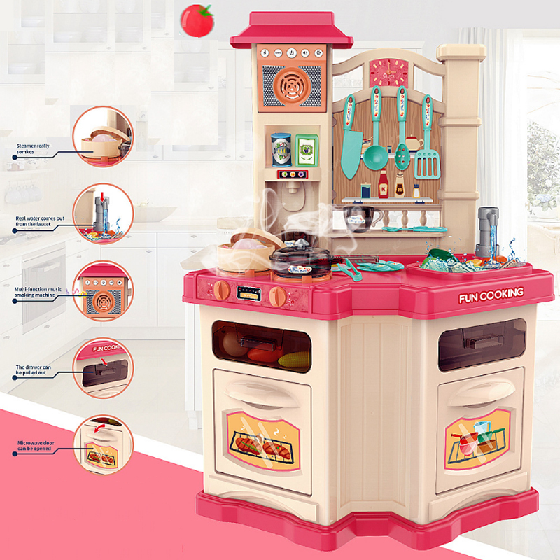 Children Role Play Kitchen Toys Large Double Side Spray Water Cooking Tableware Simulation Steam Cooking Pretend Toy For Gift