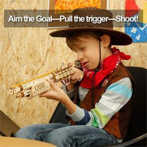 Image 3 - Robotimeปืนบล็อกอาคารDIY Revolver,ScatteยางBand Bulletไม้ยอดนิยมของขวัญของเล่นสำหรับเด็กผู้ใหญ่