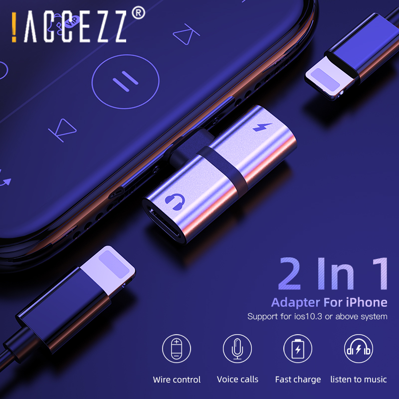 !ACCEZZ Mobile Phone Adapter For IPhone X 8 Plus XS MAX XR Adaptador For IPhone Lighting Connector Charging Calling AUX Splitter