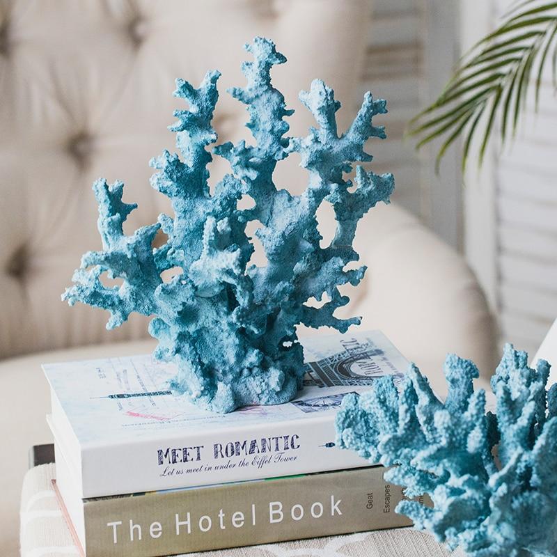 Mediterranean Blue Coral Sculpture Figurine Ornaments Plant Office Home Decoration Accessories Modern Art Resin Decor Craft Gift 1