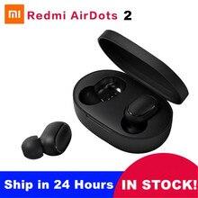 Xiaomi redmi airdots 2 tws mi verdadeiro sem fio bluetooth fones de ouvido estéreo baixo bluetooth 5.0 com microfone handsfree controle ai