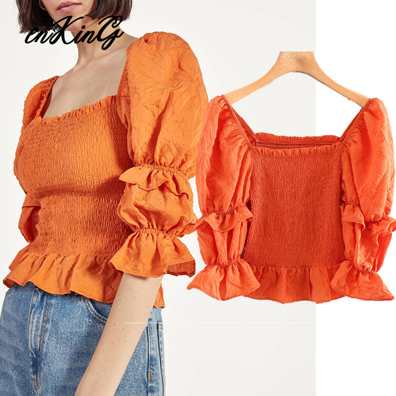 2020 fashion blogger vintage puff sleeve cascading short za blouse women blusas mujer de moda  shirt womens tops and blouse