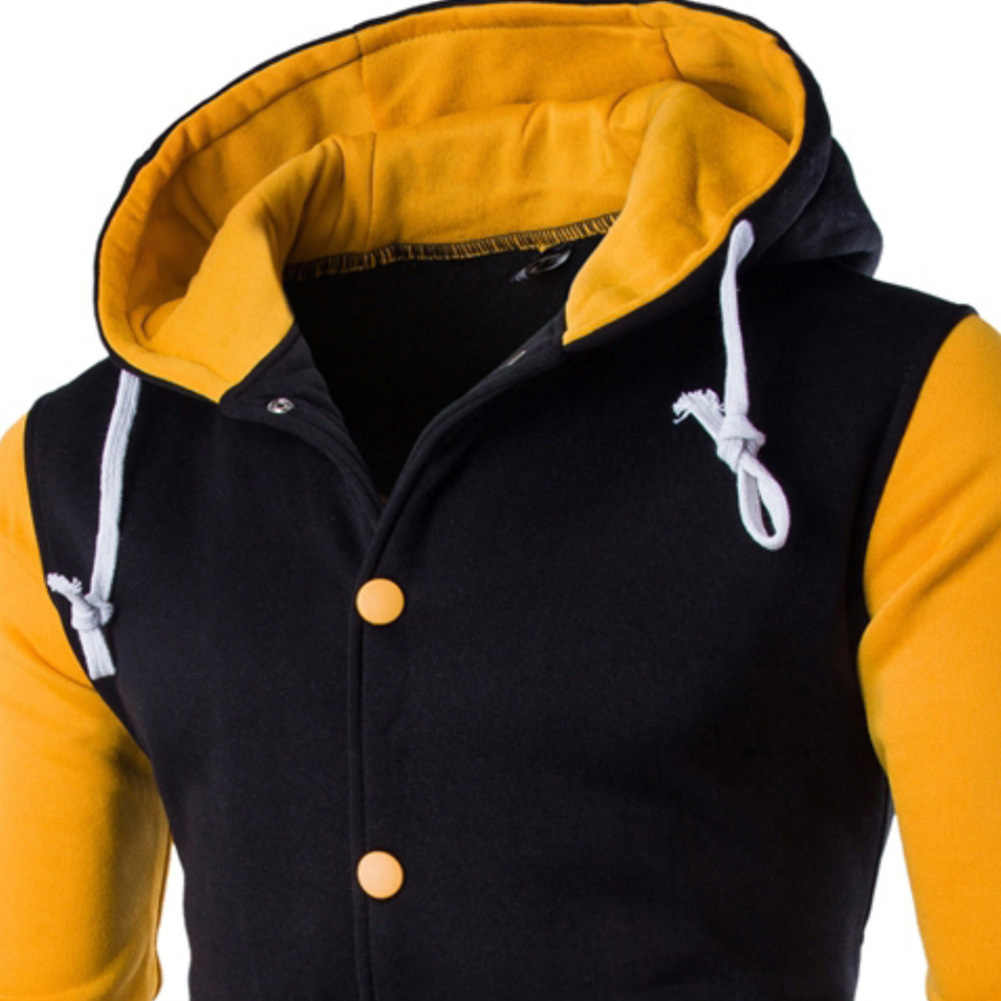 Erkekler Hoodie beyzbol ceket düğmesi sonbahar sıcak kapşonlu uzun kollu kazak erkek rahat Hoodie kazak Slim tasarım iyi şekli