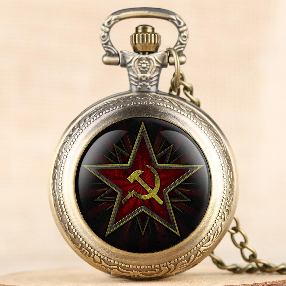 Soviet Sickle Hammer Style Quartz Pocket Watch Men Women Pendant Cccp Clock 2020 New Arrival Antique Relogio Feminino