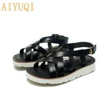 AIYUQI Fashion Sandals Girls 2020 New Genuine Leather Women Summer Casual Flat Beach