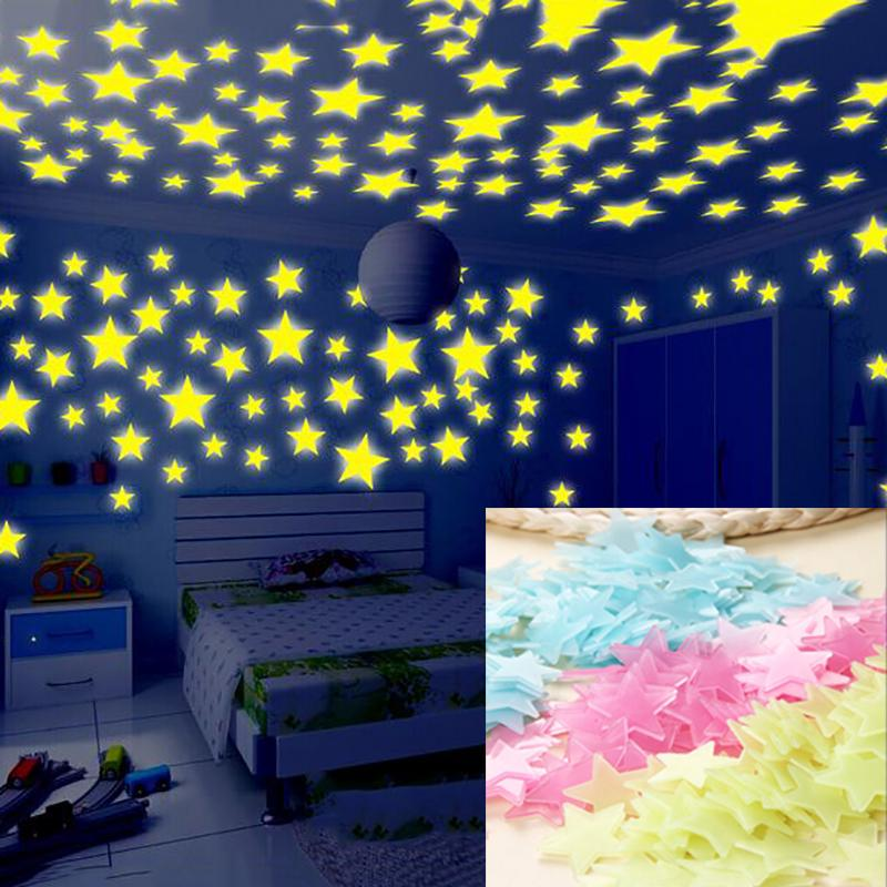 Child's Room Wall Stikers 100Pcs 3D Stars Glow Shine In The Dark Luminous Wall Glowing Stickers For Living Room Home Decoration