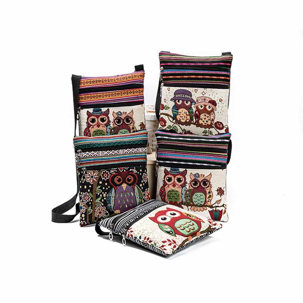 Bolsa de búho bordada, bolso de hombro Casual para mujer, bolso Postman paquete Vintage, bolso bandolero para mujer