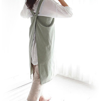 Nordic Simple Korean Version Cotton Working Apron Cotton Hemp Housewife Baking Kitchen Florist LOGO