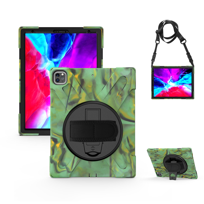 For Case A2461 Cover Heavy with A2379 Pro Duty Rugged 2021 A2462 Strap 12.9 iPad Kickstand Hand+Neck Protection