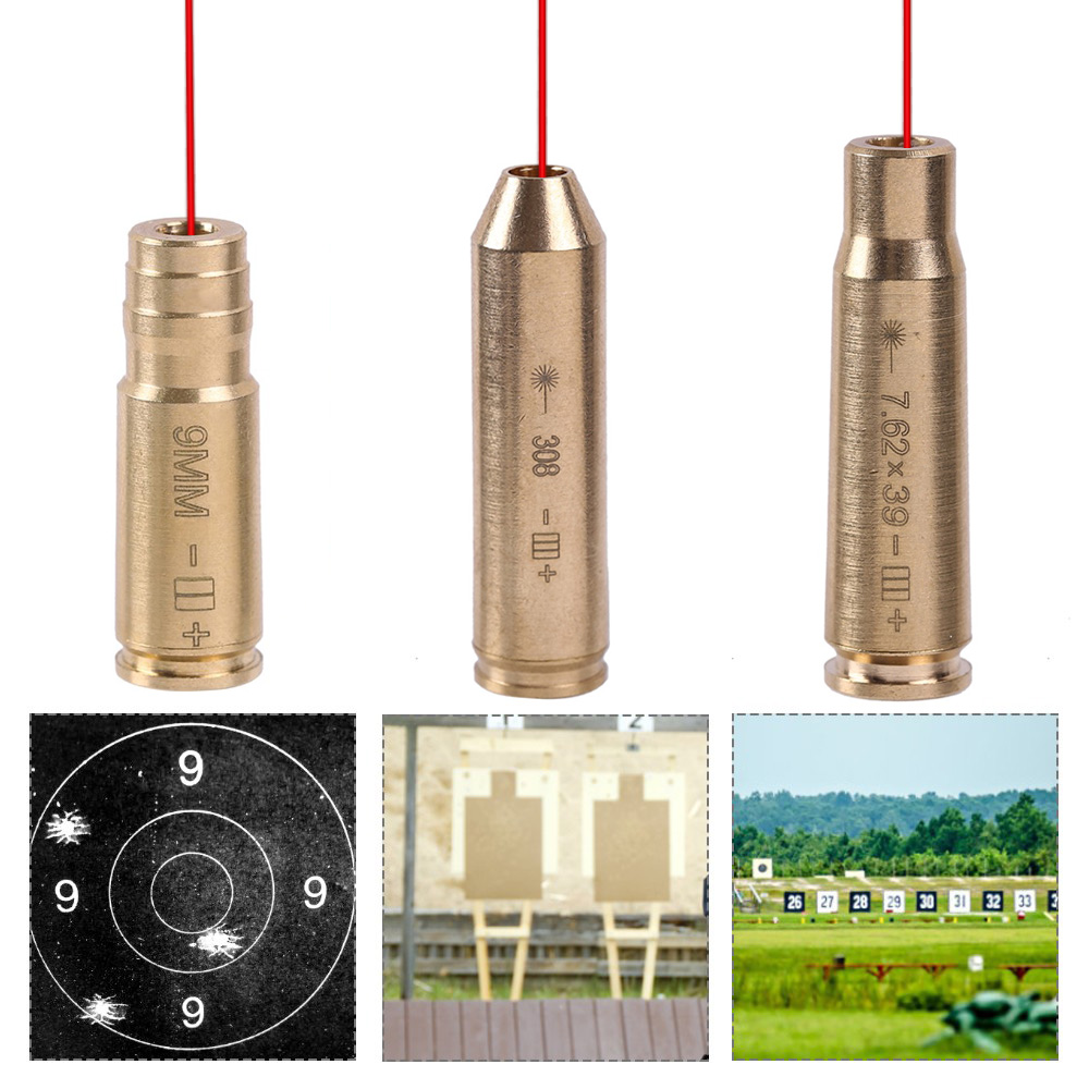 Red Dot Laser Tactical Brass Copper Boresight CAL 9mm/308/7.62x39mm Cartridge Gun Rifle Laser Boresighter Hunting Accessories