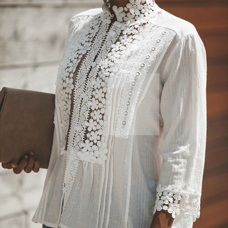 Hot Sale Fashion Sexy Kimono Hollow Out Shirt Summer Plus Size Loose White Lace Crochet Blouse Women Tops Elegant Shirts