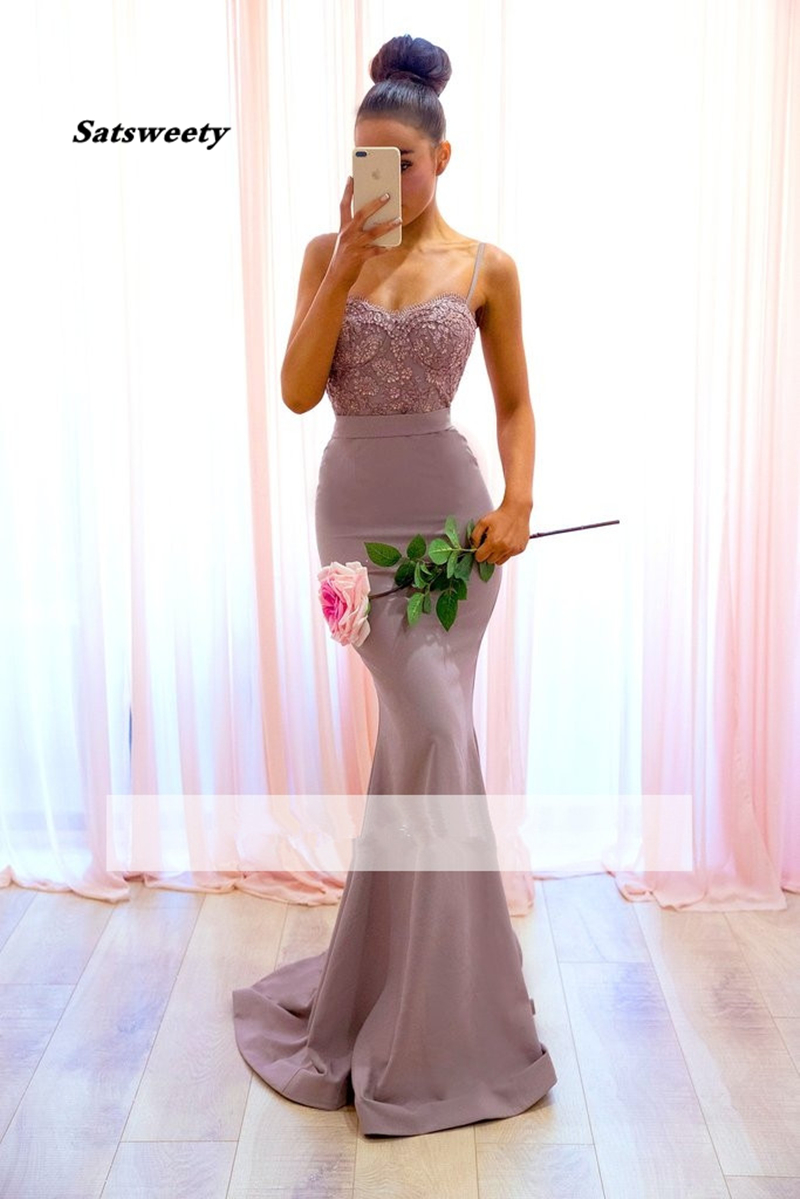 Cheap Bridesmaid Dresses Under 50 Mermaid Spaghetti Straps Lace Beaded Backless Long Wedding Party Dresses
