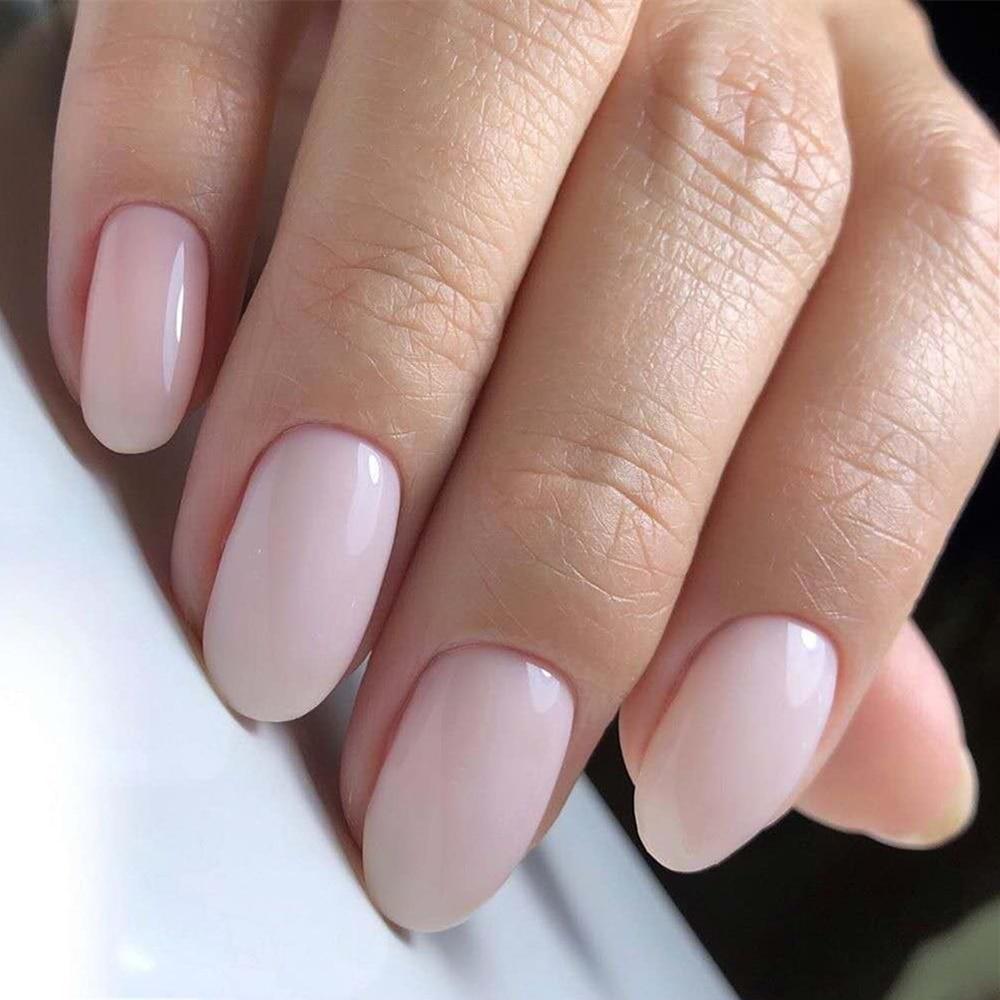 24Pcs Glossy Light Nude Artificial Fake Fingernails Full Cover Plastic False Nails For Design DIY Salon Manicure Tool