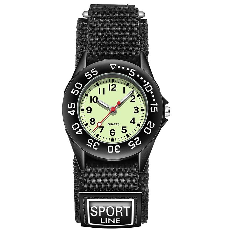 Watches Number Arabic Dial Cute Clock Quartz Children Kid Boy Spinning Nylon Bezel Straps