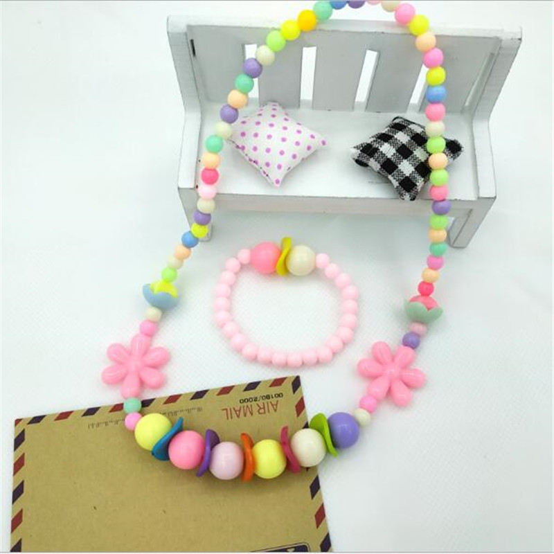 2pcs/set Acrylic Kids Jewellery for Girls Candy Color Beads Jewelry Set for Party Kids Necklace and Bracelet Set for Friend