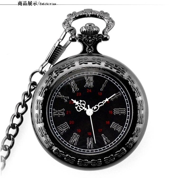 Vintage Black Unisex Fashion Roman Number Quartz Steampunk Pocket Watch Man Women Necklace Pendant With Chain Gifts