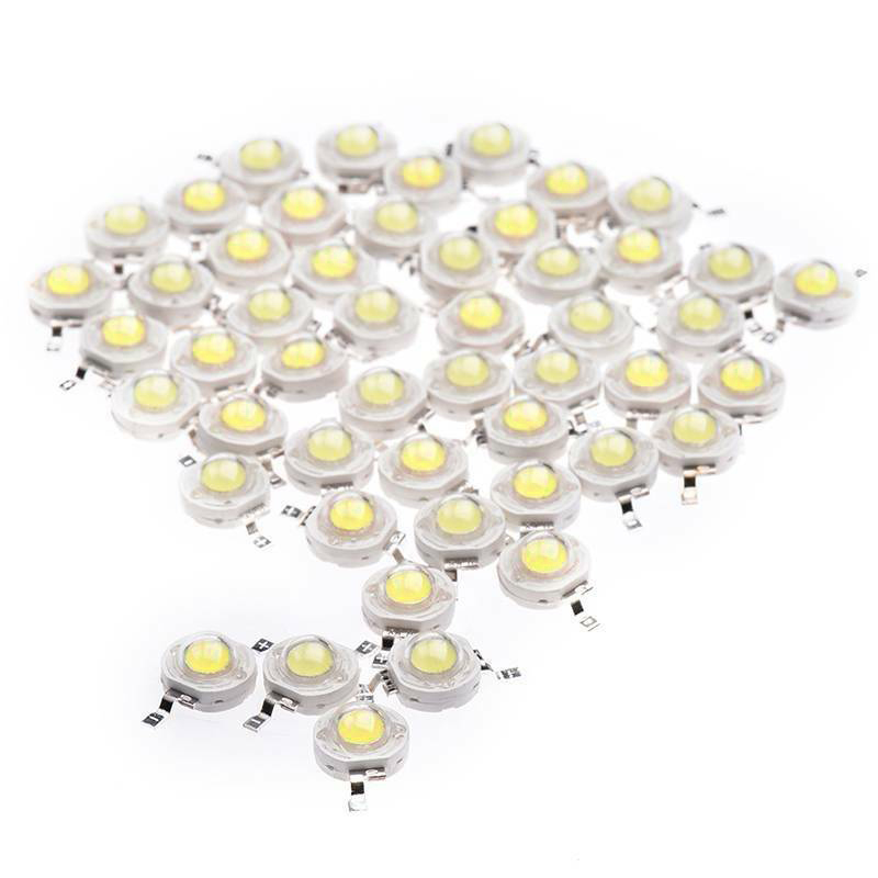 50Pcs 1W Diode High Power Cool White Led Beads 1 Watt Lamp Chip 3V-3.4V