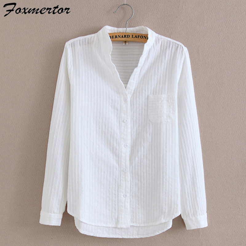 Foxmertor 100% Cotton Shirt White Blouse 2020 Spring Autumn Blouses Shirts Women Long Sleeve Casual Tops Solid Pocket Blusas #66