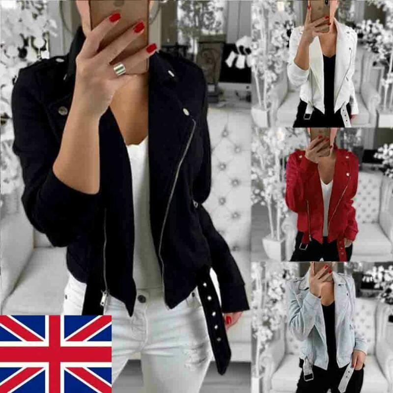Plus Size Women's Ladies Windbreak Turn Down Collar Button Zipper Jacket Flight Coat Zip Up Biker Casual Tops Clothes UK