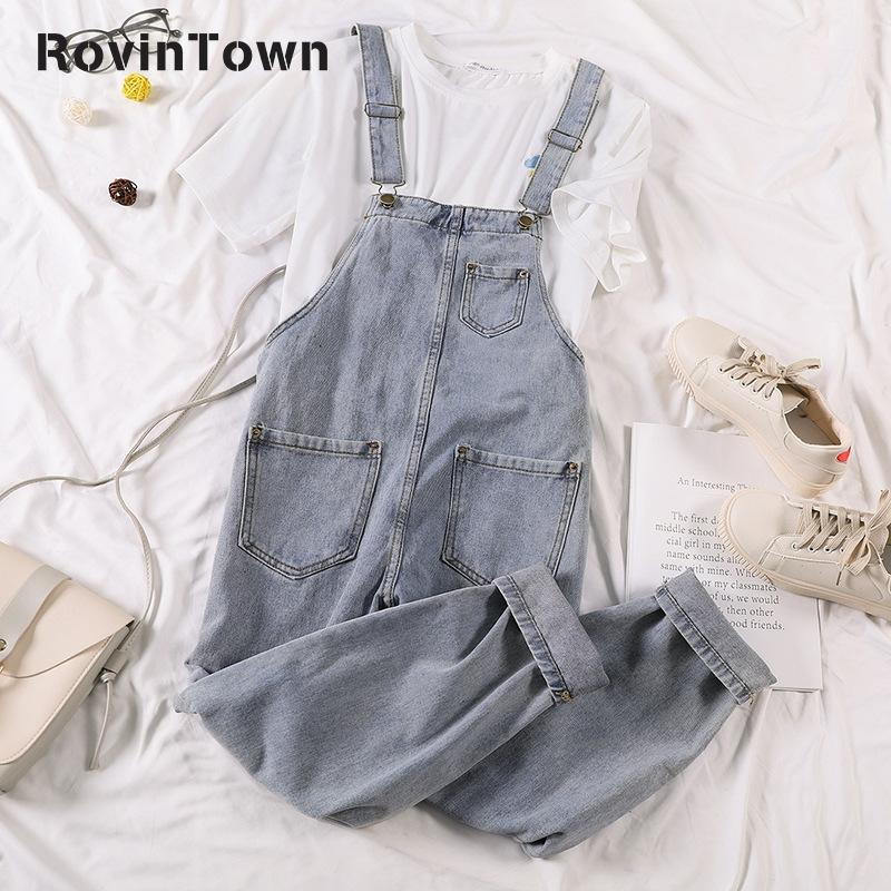 Jeans Overalls New Korean Style Fashion Loose Casual Light Blue Women High Street Capri Pants Ankle Length Cotton Free Shipping
