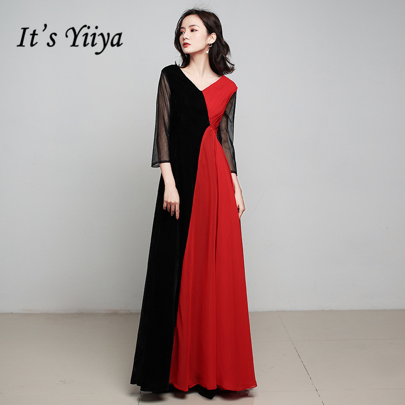 It's Yiiya Evening Gown V-neck Elegant Long Party Gowns Vestidos Elegantes Three Quarter Black Red A-Line Robe De Soiree K198