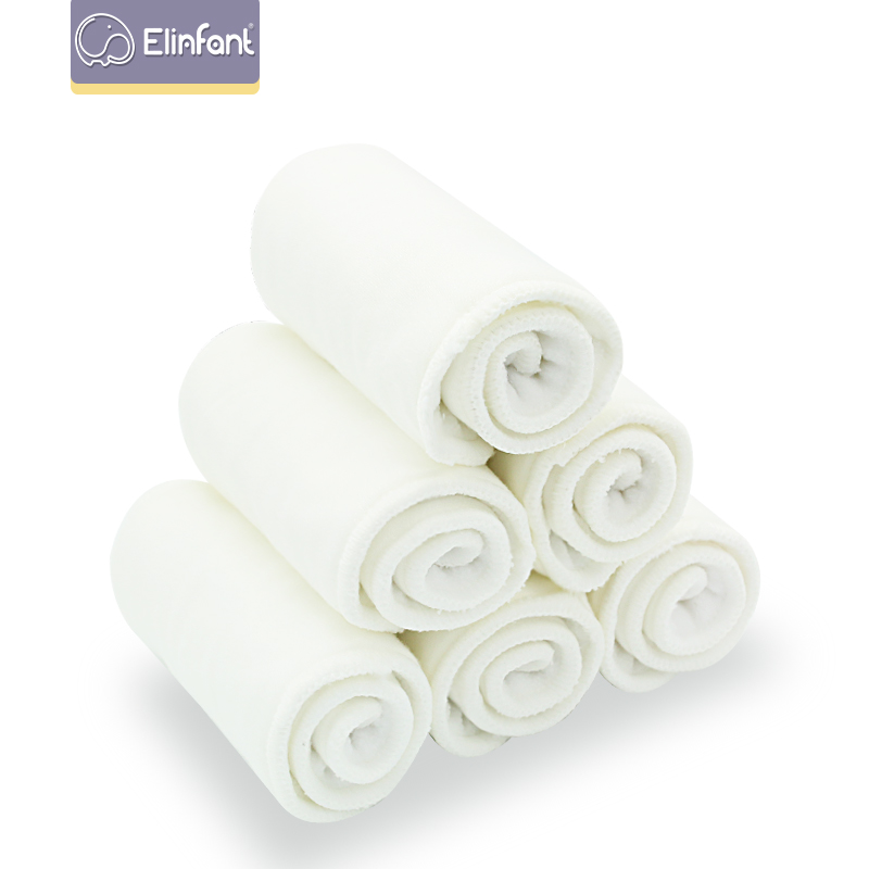 Elinfant 5/10 Pcs 2+2 Quality Baby Diapers Bamboo Cotton Insert  Diaper Nappy  Can Be Washed Reusable