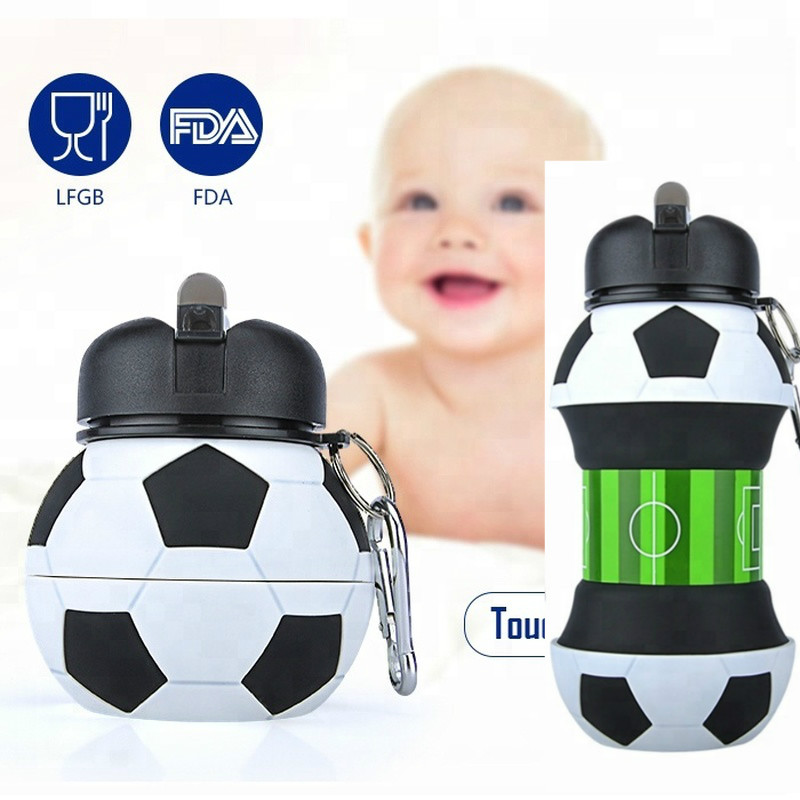 550ml Baby Bottle Soccer Ball Shape Baby Learning Drinking Cup Portable Cup Folding Cup Camping Travel Picnic School Infant Cup
